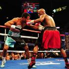 Mayweather repeatedly got the better of his opponent during exchanges in close quarters.