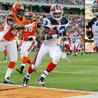 """His notorious dropped pass against Pittsburgh aside, Johnson, a 2008 seventh-round pick who entered the season with 12 career catches, has had a terrific campaign in his third year in Buffalo.  He amassed 72 catches for 943 yards and 10 touchdowns through Week 15, establishing himself as Ryan Fitzpatrick's favorite target.  His most memorable performance came against Cincinnati, when Johnson outshined Terrell Owens and Chad Ochocinco by racking up 137 yards and three scores in a 49-31 comeback win.  He further humiliated the duo in the end zone: He lifted his jersey to reveal the writing """"Why so serious?"""" belittling the self-proclaimed Batman and Robin tandem."""