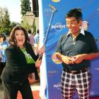 The Mrs. tried to iron her hubby's clothes, while he was still in them, at the annual George Lopez Celebrity Golf Classic in Toluca Lake, Calif., on May 3.