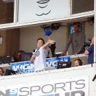 The actor capped off his stirring rendition of  Take Me Out To The Ballgame  at Wrigley Field on May 1 by tossing his adoring public some free headwear.