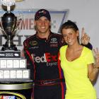 The stock car jockey and his bewitching gal pal, Ms. Fish (who we hear is quite a catch) got their signals crossed after Hamlin won NASCAR's coveted Showtime Southern 500 at Darlington on May 8.