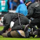 With so much suds flowing on and around the pitch, it's no surprise the authorities are kept busy. Here a pair of German coppers take down a boisterous fan who at least heeded his mama's advice to always wear nice underwear because you never know when you might be arrested.