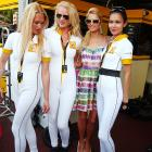 Everyone's favorite saucy hotel heiress was spotted sporting a summer frock and swappin' tales with the more attractive features of the Renault team at Formula One's Monaco Grand Prix in Monte Carlo.