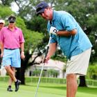 The Nutrisystem poster boy demonstrated his uncanny putting style during the Jason Taylor Celebrity Golf Classic in Davie, Fla., on May 17.