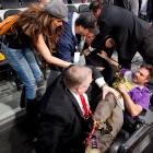 Celebrities sometimes take their lives in their hands attending basketball games at L.A.'s famed Staples Center. Thespian Arquette was run over by a bullish security guard after a fan ran onto the court during the Lakers-Suns tilt on May 17.