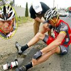 The seven-time Tour de France champ fell down and went boom during the Tour of California on May 20 and ended up with a nasty boo-boo.