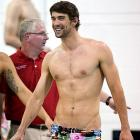 The Olympic icon was seen at practice for the Grand Prix Charlotte Ultra Swim sporting a festive suit of the kind favored by 300-pound gentlemen who have more body hair than a grizzly bear.