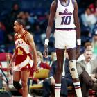 Bol, pictured with his old USBL teammate Spud Webb, quickly became a star in D.C. and was recruited for a number of endorsements. He also was credited with increasing attendance at Bullets away games.