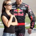 Amanda Speed stands by her man during the qualifier for the Russ Friedman 400 at Richmond.