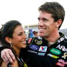 Carl Edwards hugs his wife Kate before the start of the Ford 400 Sprint Cup race at the Homestead-Miami Speedway, where he let the 2011 Sprint Cup championship slip away.