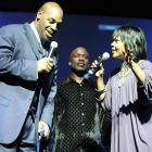 Donovan McNabb, along with BeBe Winans (center) and CeCe Winans, co-hosted the 11th annual Super Bowl Gospel Celebration at the James L. Knight Center in Miami.