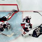 """Added to the NHL for 1970-71, the Sabres have become accomplished heartbreakers, tantalizing their devoted fans with scrappy and often talented teams. They lost the 1975 Stanley Cup Final to defending champion Philadelphia in six games, and the '99 final to Dallas, thanks to Brett Hull's controversial """"foot in the crease"""" goal in Game 6 (pictured). The Sabres have also fallen one round shy in 1980, '98, 2006 and 2007."""