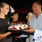 The former Raiders running back celebrated what appears to be -- judging by all those candles -- his 100th birthday at his celebrity poker tournament in Hollywood.
