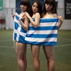 One look at these lovely ladies draped in the Greek flag will tell you why China has recorded a record television audience for the World Cup tournament. We suspect that many folks of the male persuasion thought all of the players looked and dressed like this...