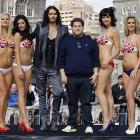 The stars of the major motion picture  Get Him To The Greek  did a little research on cutting edge swimwear -- yes, this photo has a sports connection, however flimsy -- while attending a promotional event in London.