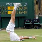 Nothing tuckers a man out quite like a good, hard-fought tennis match. Mr. Isner here was ready for a bit of rest after battling Nicolas Mahut at Wimbledon for parts of three days in the longest match in tennis history.