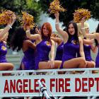 Seen at the Lakers' championship parade in L.A. Insert your own hot joke here.