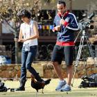 The World Cup hero got a gander of the U.S. team's new striker at Irene Farm in Pretoria, South Africa on June 24.
