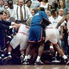 The rivalry between the Miami Heat and New York Knicks came to a boil during Game 5 of the 1997 playoffs. The Heat were trailing 3-1 in the series but went on to take Game 5. Taking advantage of the suspensions that arose from the brawl at the end of the victory, Miami took the series in seven games.