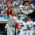 Matsui received his World Series ring and a rousing ovation from the Yankee Stadium faithful, in his comeback with the Angels. With fans cheering him on for his six-RBI performance in the Yankees' Series-clinching win in November 2009, Matsui exchanged hugs with his former Yankee teammates.