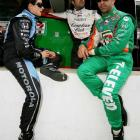 Andretti Green Racing teammates Tony Kanaan and Dario Franchitti chat with Patrick before the running of the 92nd Indy 500. Patrick would ultimately claim the eighth pole position and finish eighth as well.