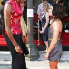 Standing at a modest 5-2, Patrick chats with 6-5 WNBA player Lisa Leslie before the 2008 ESPY awards in Los Angeles.