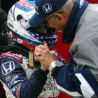 Team owner Bobby Rahal gives Patrick some words of encouragement during Pole Day for the 2005 Indy 500. Patrick would earn the highest pole position (fourth) for a female driver in the history of the event.