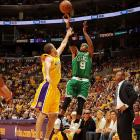 The Lakers took a 50-41 lead at the break, but Rajon Rondo kept the Celtics close with 10 points in the first half.