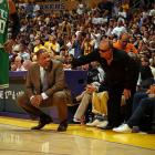 Staples Center courtside regular Jack Nicholson takes a moment to counsel Boston coach Doc Rivers. Sadly for Jack and the rest of Laker nation, the Celtics showed no mercy Sunday night.