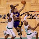 L.A. veteran Derek Fisher was the key cog down the stretch for the Lakers, scoring 11 of his 16 points in the fourth quarter. His three-point play in the face of three Boston defenders put the Lakers ahead for good.