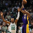 """Bryant shot just 10-of-29 from the field Tuesday, and attributed the late-game heroics of his teammates to the Celtics' strategy: """"They weren't going to let me beat them down the stretch."""""""