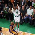After a horrific Game 3, Ray Allen bounced back Thursday with 12 points and five rebounds. But he missed all four of his three-point attempts, and has yet to make a shot from beyond the arc since the series left Staples Center.