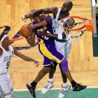 As his fellow Lakers -- save for Pau Gasol -- struggled to get much of anything done, Kobe Bryant took over the third quarter, barreling his way through Boston defenders to score L.A's first 19 points of the second half. He finished with a game-high 38 points, but it wasn't enough to save the Lakers.