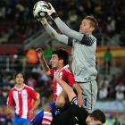 New Zealand goalkeeper Mark Paston turned back several Paraguay scoring attempts, but couldn't keep the South Americans from winning the group and moving on to the round of 16.