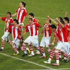 Lining up to watch their World Cup fate, Paraguay players exhaled jubilantly after a goal in the penalty kick round of their match against Japan. Paraguay's players could celebrate every time -- each of its five penalty kicks found the back of the net.