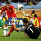 After Spain spent much of the day with the possession advantage but unable to break through, David Villa scored his fourth goal of the World Cup in the match's 63rd minute. Taking a pass from Xavi Hernandez, Villa was stoned by Portuguese goalkeeper Eduardo on his original shot. But he fired the rebound high into the goal.
