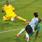 Nigeria's Vincent Enyeama denies Argentina's Lionel Messi with a tough stop during Saturday's match.