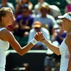 Unseeded Czech Petra Kvitova (left) needed only 46 minutes to dispatch third-seeded Caroline Wozniacki 6-2, 6-0 to reach her first quarterfinal in a Grand Slam. Wozniacki won only six points on Kvitova's serve.