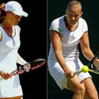Sam Stosur (left), the French Open runner-up earlier in June, lost to 80th-ranked qualifier Kaia Kanepi of Estonia 6-4, 6-4 in the first round.