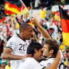 Jerome Boateng, Sami Khedira and Thomas Mueller celebrate after Mueller scored against England. The trio help make up Germany's stunningly successful youth movement at the 2010 World Cup.