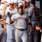 The Giants outfielder looked a bit gassed after legging out an inside the park home run vs. the Rockies in the notoriously thin air of Colorado's Coor Field on July 4.