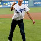 When his figure skatin' days are done, the Olympic champ obviously has a place in the Dodgers bullpen.