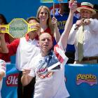"The Nathan's Famous Fourth of July Hot Dog Eating Contest has a very apt co-sponsor. Its distinctive Elixir of Champions was triumphantly held aloft by the man known as ""Jaws"" after he won the event for a stomach-turning fourth year in a row."