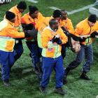 Let this be a warning to you: crashing the pitch in an attempt to steal the World Cup trophy will more than likely get you carted off to the hoosegow.