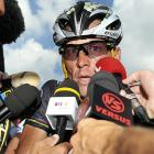 Looking like the proverbial deer caught in the headlights, the seven-time Tour de France champion appears as if he's forgotten his shorts before embarking on the 9th stage of the race.