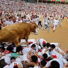 These revelers at the San Fermin fiesta in Pamplona, Spain, had a beef to settle.