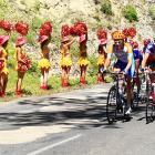 Bands of marauding cheerleaders were seen along the course between Revel and Ax-Trois-Domaines during the 14th Stage...