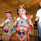 A pair of Rockets from Houston cut some rug with two rather distinctive individuals at Expo Park in Shanghai.