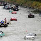 The vehicles here are making their watery way along the Nantes to Brest canal in southwestern France. Frankly, we'd love to see NASCAR work something like this into its Chase for the Sprint Cup.