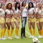 Not as if soccer in Mexico needs gimmicks to attract fans, but these attractive ladies -- including Ms. La Salvia the actress ( center )-- likely didn't keep folks away from the Primera Division's Apertura tournament at Victor Manuel Reyna Stadium in Tuxtla Gutierrez.
